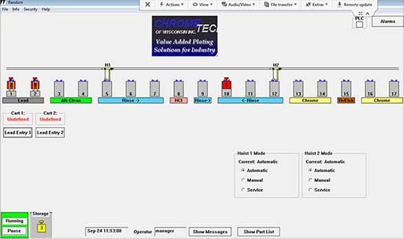 Chrome plating hoist line controller screenshot