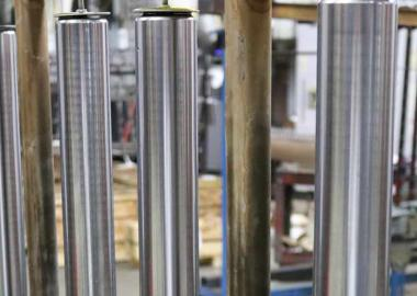 Nickel chrome plated parts on assembly line